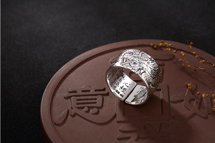 Thai argent dragon coeur chinois rétro en relief en argent Sterling bague hommes anneau ouverture