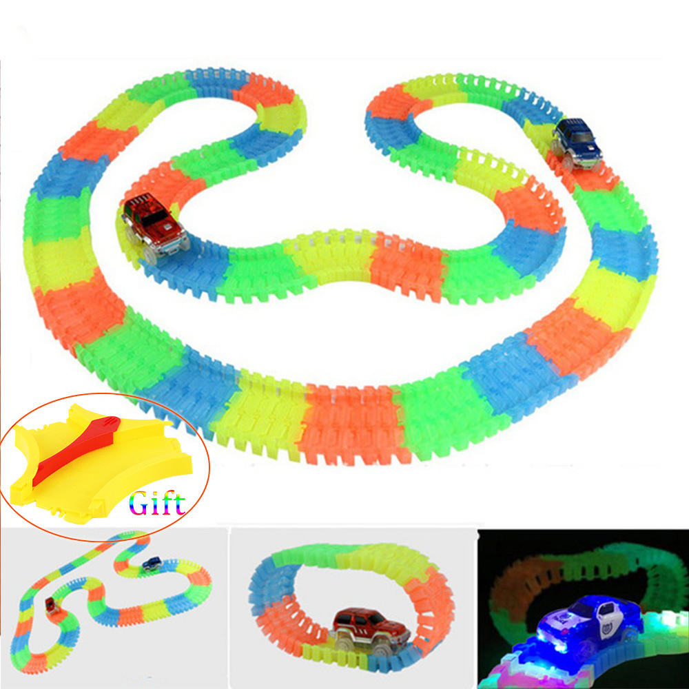 65/165/220/300pcs DIY Assembly Race Tracks Rail Miraculous Glowing in The Dark Race Trac ...