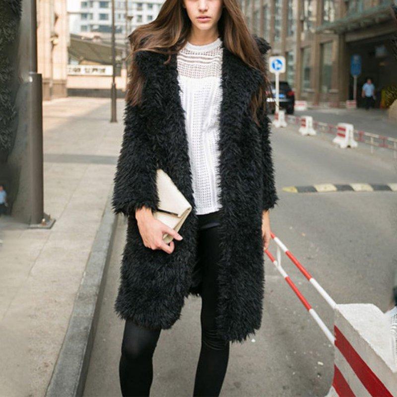 Женская Мода Зима V Шеи Пальто Куртки С Длинным Рукавом Теплый Искусственного Меха И Пиджаки Пальто Дамы