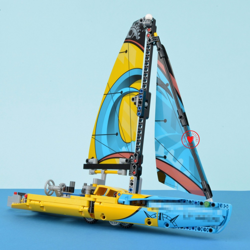 New Technic Series Racing Yacht fit legoings technic boat Yacht city Building Blocks Bricks diy toys model 42074 gift kids