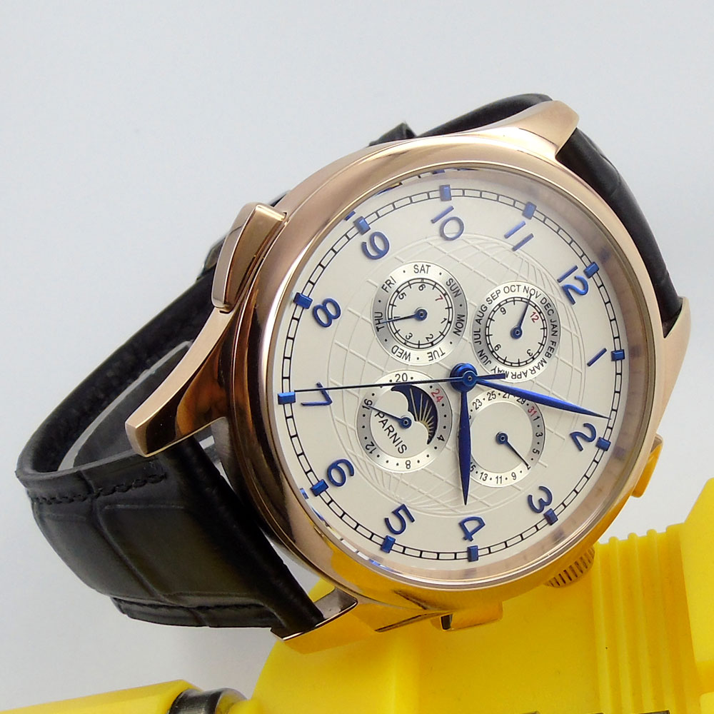44mm PARNIS White Dial Rose Golden Case Date Indicator Leather strap 2019 Top Luxury Brand Automatic Movement mens Wristwatch44mm PARNIS White Dial Rose Golden Case Date Indicator Leather strap 2019 Top Luxury Brand Automatic Movement mens Wristwatch