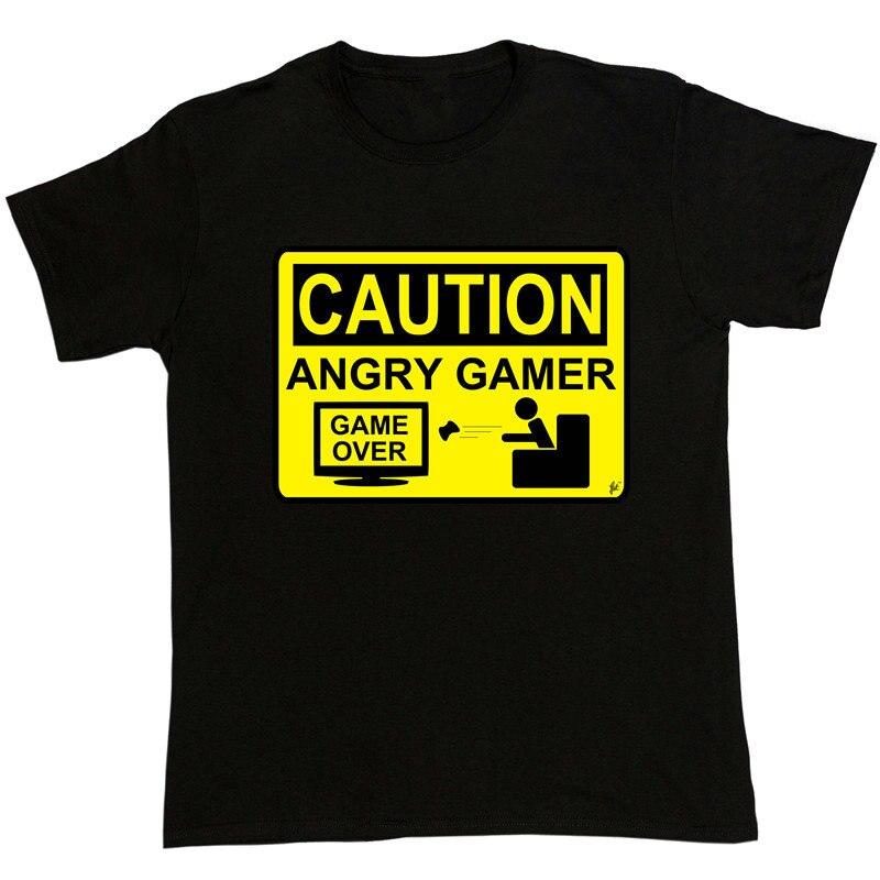 Дизайн Рубашки для мальчиков внимание Angry Birds геймер Предупреждение знак Game over Lost короткий рукав подарок Рубашка с кгруглой горловиной для Д...