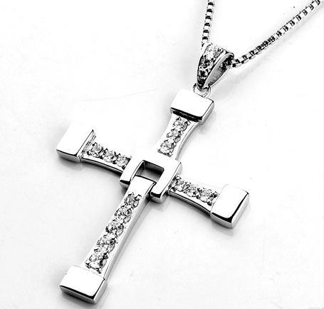 FAST and FURIOUS Dominic Toretto Cross 925 Sterling Silver Pendant Necklace Big Size Pendant Christmas Gift Zirconia Jewelry 100% high quality the fast and the furious celebrity vin diesel item crystal jesus cross pendant necklace for men gift jewelry