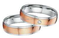 2014 new custom tailor handmade men's and women's rose gold color wedding bands engagement ring sets for couples