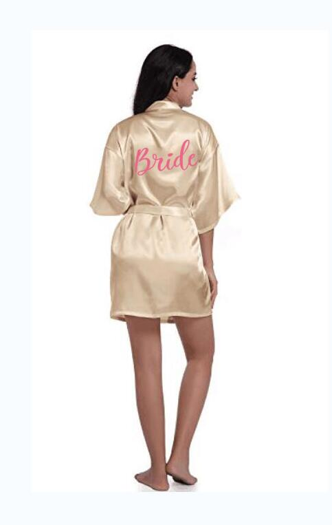 Champagne Robe Bridesmaid-Robes Groom Sister Sexy The of Satin No