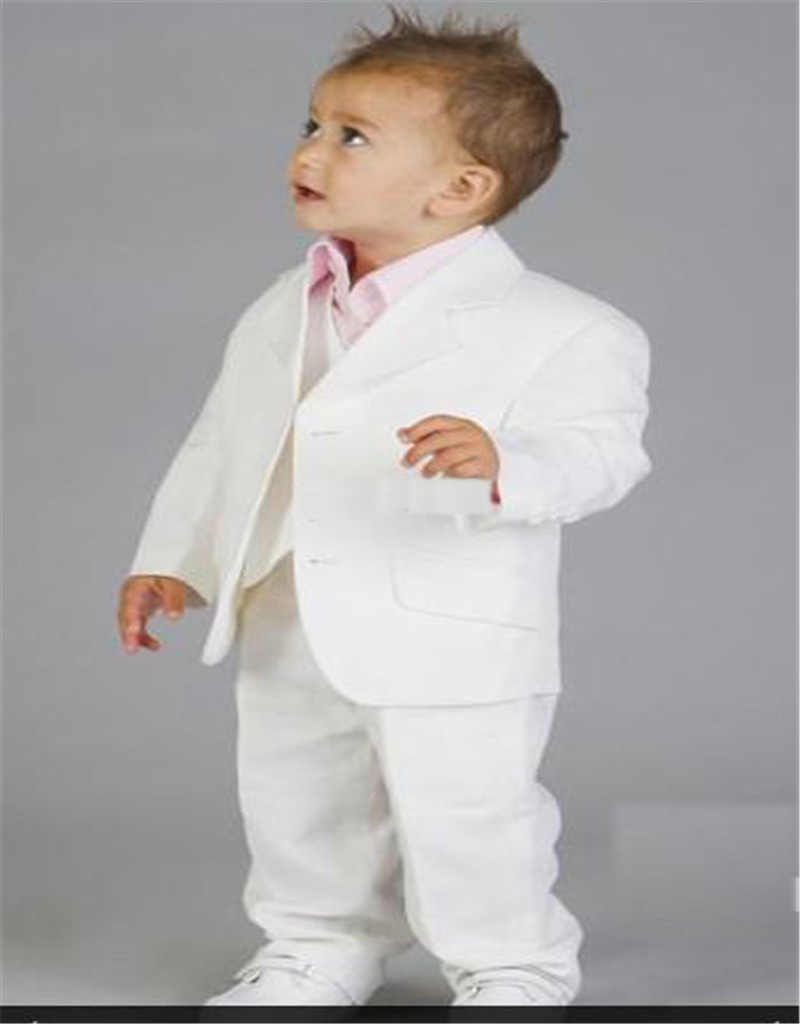 4b6ce7d966a4c White Boys Formal Wears Baby Linen Suit Notched Lapel Two Buttons Wedding  Ring Bearer Kids Tuxedos Suits