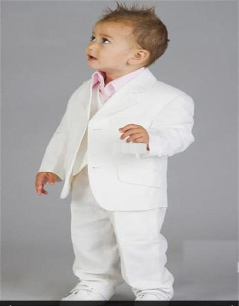 Blanc garçons formel porte bébé linge costume cranté revers deux boutons mariage anneau porteur enfants Tuxedos costumes