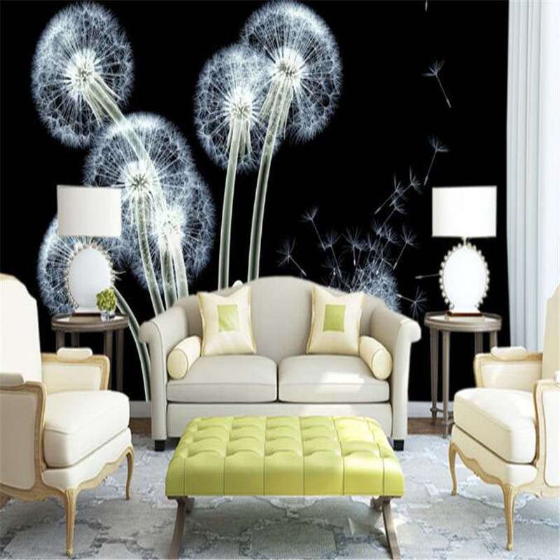 Custom 3D Murals Wall Papers White Dandelion Wallpapers for Living Room Bedroom Home Decor Modern Luxury Miroir Murals Flowers