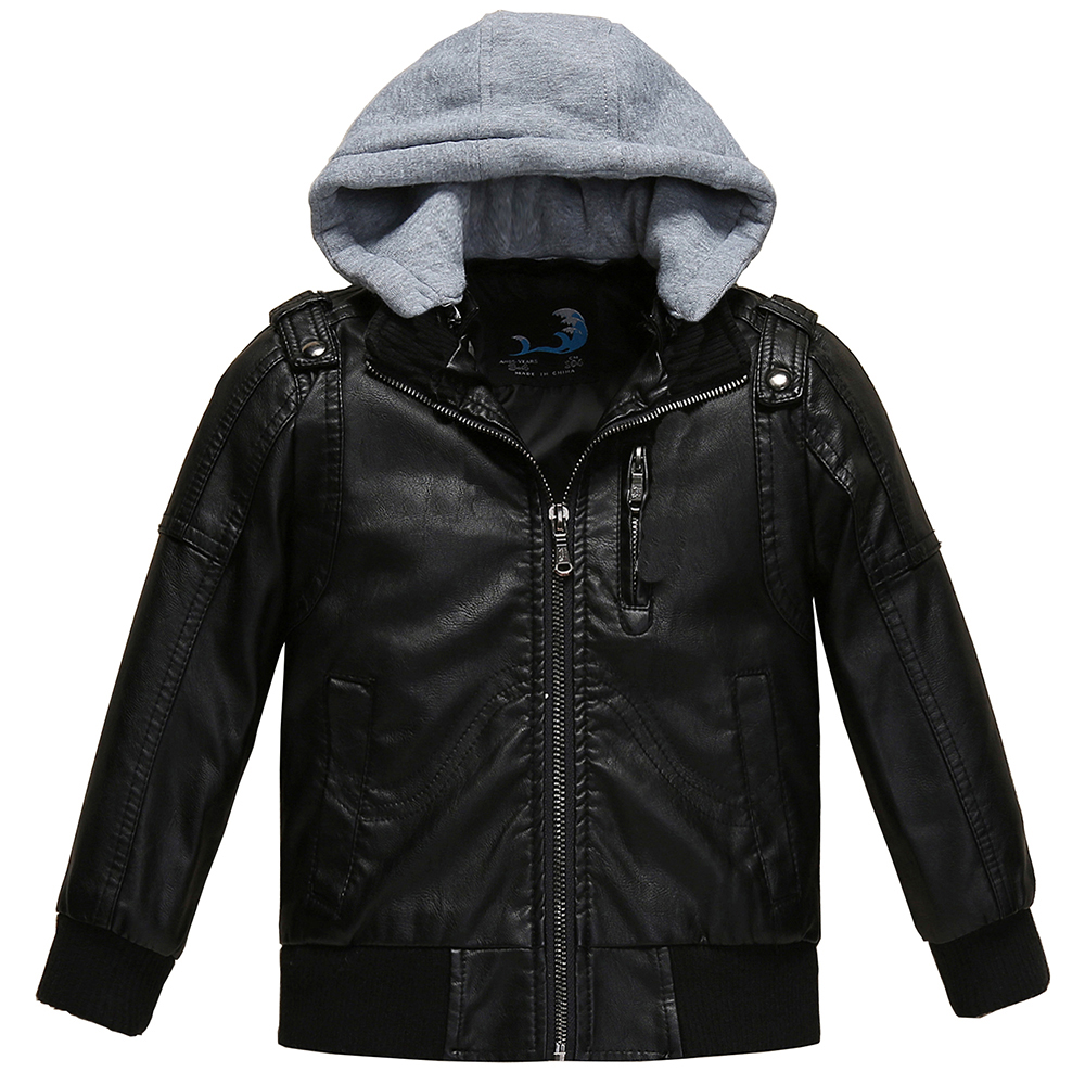 Budermmy Toddler Boys Removable Hood Faux Leather Jacket Slim Brand Design Coats Warm Outerwear Clothing For Spring Fall Winter