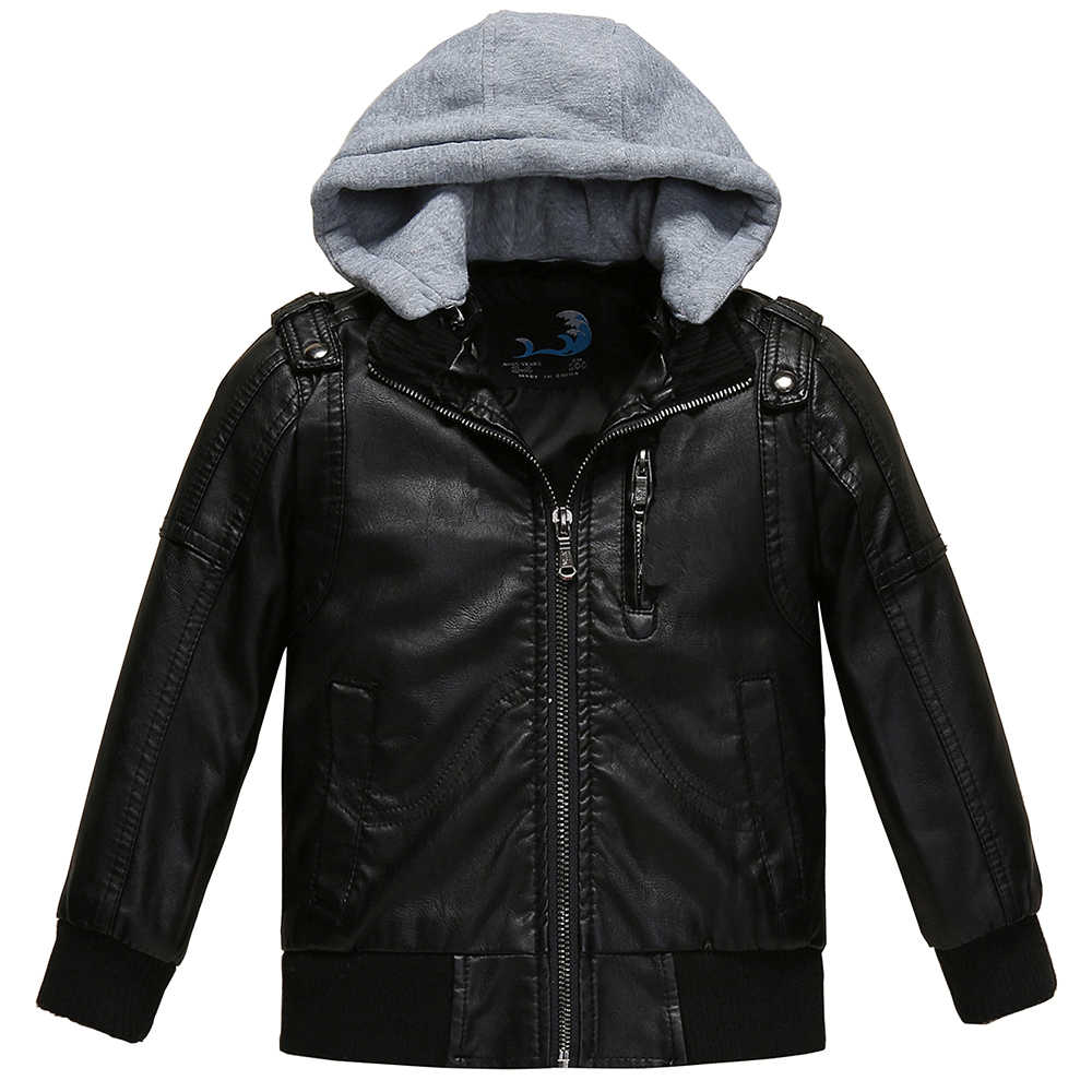 fa7518937 Budermmy Toddler Boys Removable Hood Faux Leather Jacket Slim Brand Design  Coats Warm Outerwear Clothing For Spring Fall Winter