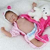 Silicone Reborn Baby Dolls Sleeping Babies Lifelike Real Vinyl Belly 55cm Reborn Dolls For Girls Bebe Alive Brinquedos Bonecas