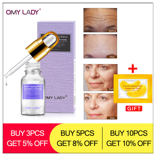 OMY LADY serum facial Argireline skin care anti-aging anti-wrinkles essence Hyaluronic acid face care deep moisturizing hydra