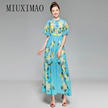 Europe Fashion 2018 Spring Latest Elegant O-Neck Short Flare Sleeve Chiffon Floral Print A-Line Ankle-Length Long Dress Women(China)