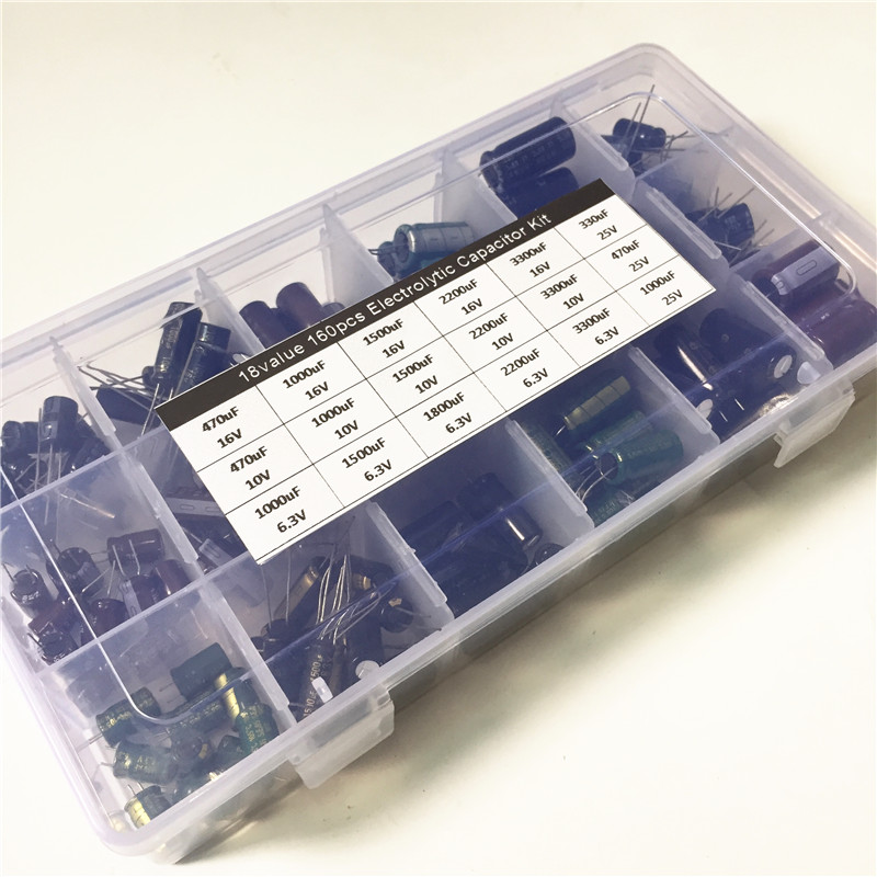 18value 160pcs 6.3V 10V 16V 25V 330uF 470uF 1000uF 1500uF 1800uF 2200F 3300uF Capacitor Kit  Aluminum Electrolytic Capacitors
