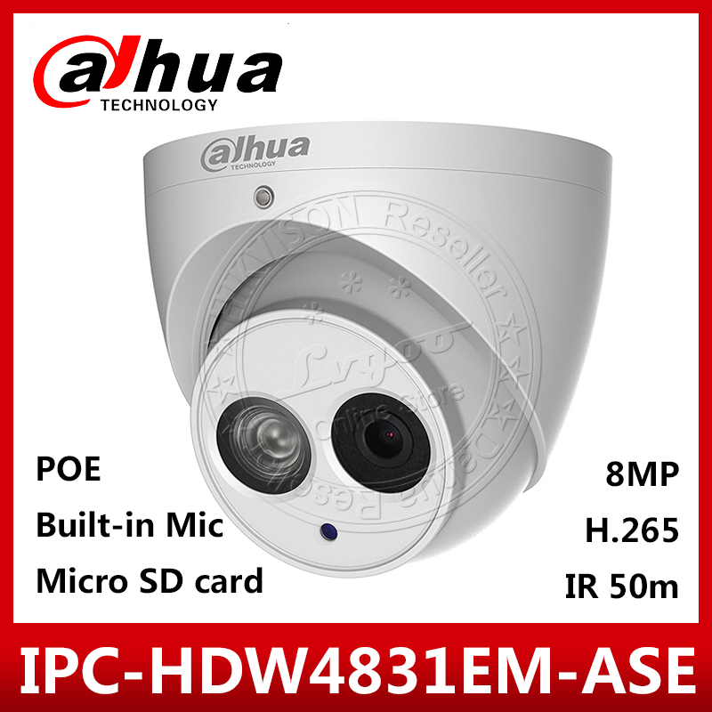 Dahua IPC HDW4831EM ASE 4K 8MP POE English FirmwareR 50m Security Camera Built in Mic Support