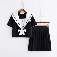 Black Love Arrow Embroidery Japanese School Uniform Girl High Women Novelty Cosplay Sailor Suits Uniforms S-XXL
