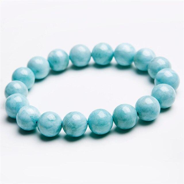 10mm Genuine Blue White Natural Larimar Gem Stone Bracelets Stretch Charm Round Bead Bracelets For Women