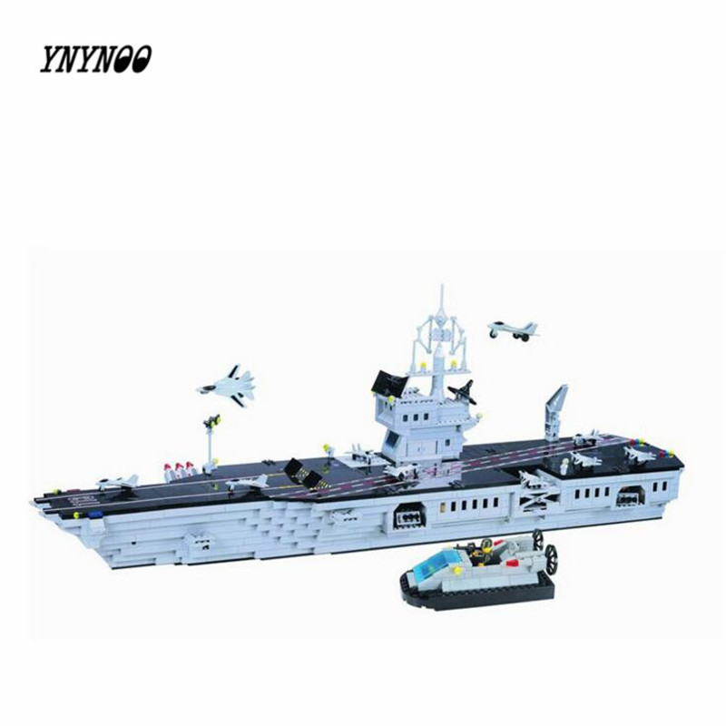 YNYNOO Enlighten113 NEW 990pcs Hot New CombatZones Aircraft Carrier large model Christmas Gift Building Blocks toys for children enlighten 1406 8 in 1 combat zones military army cars aircraft carrier weapon building blocks toys for children