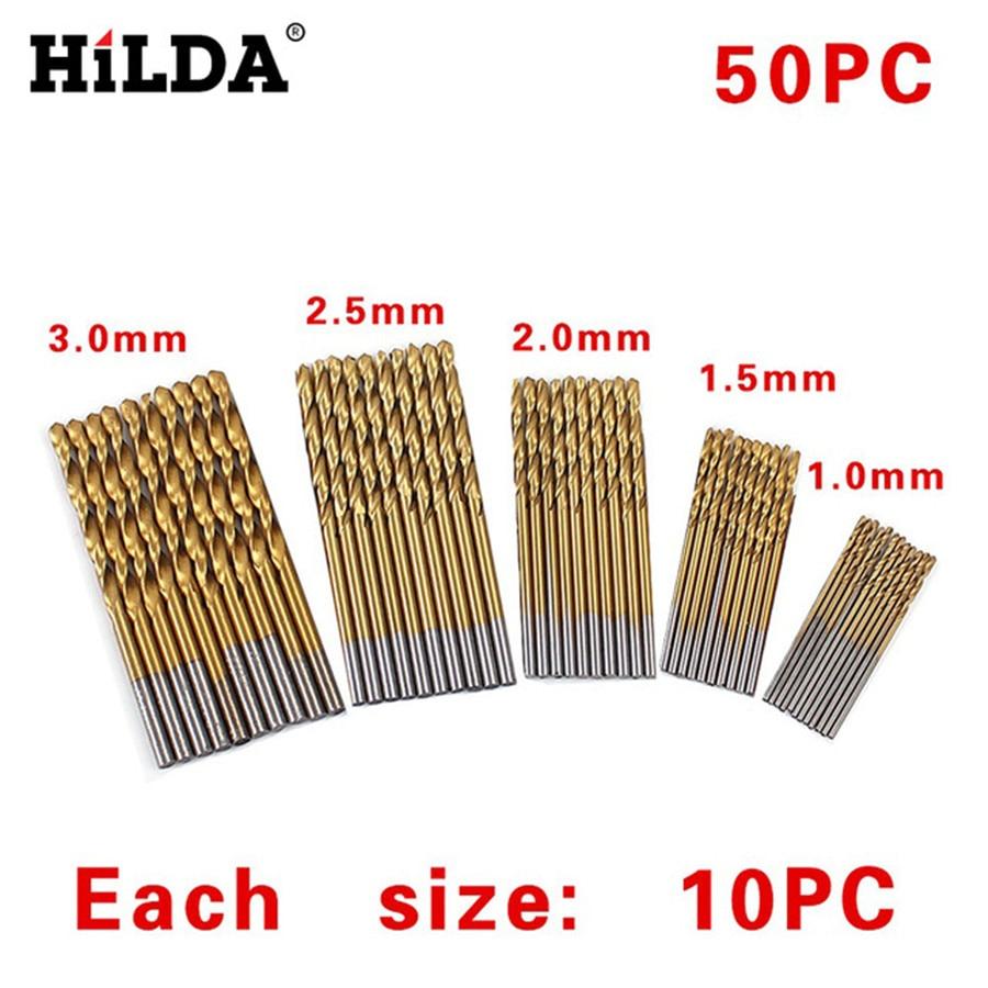 50Pcs/Set 1/1.5/2/2.5/3mm For Metal Twist Drill Bit Set Saw Set HSS High Steel Titanium Coated Drill Woodworking Wood Tool