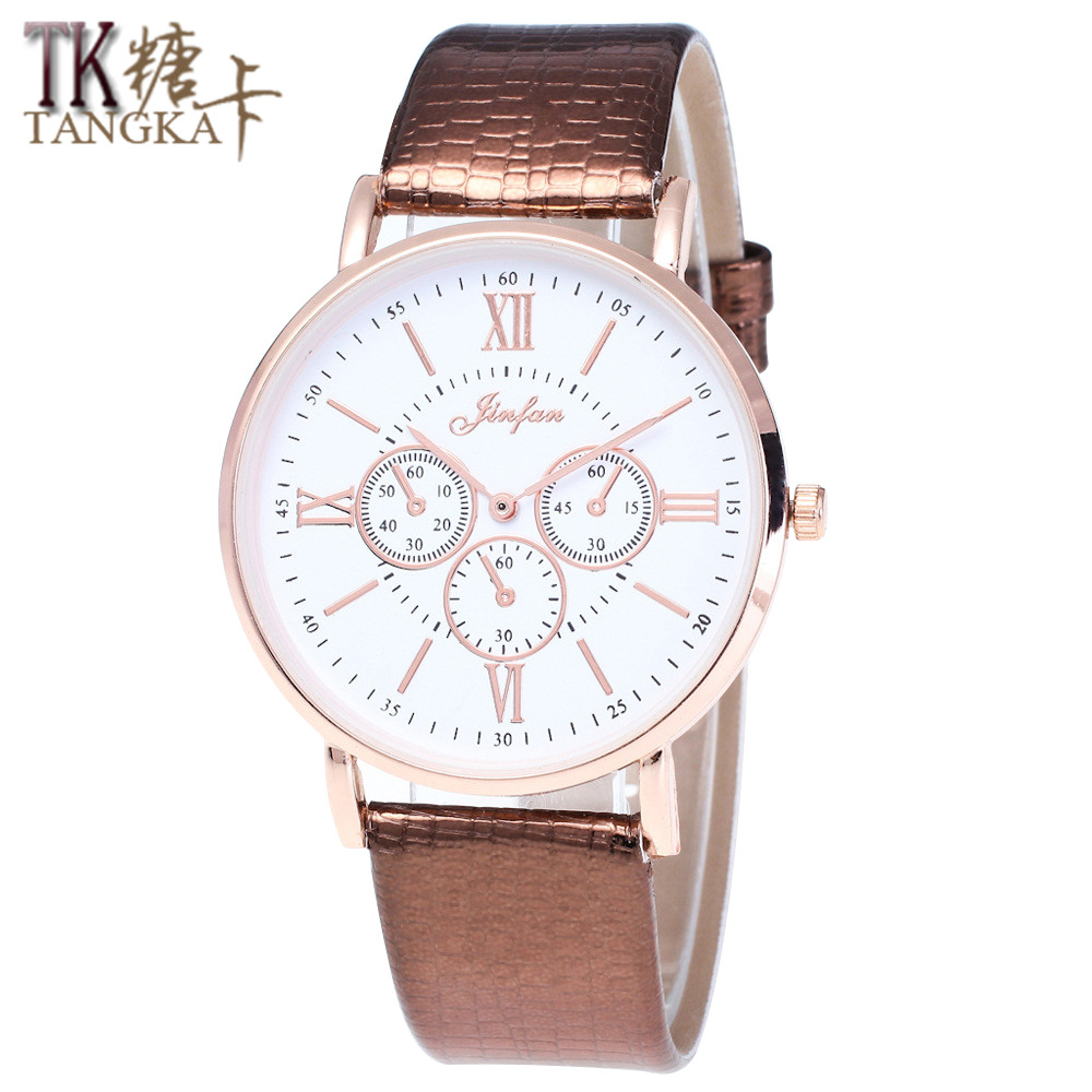 Hot Automatic Mechanical Watch  High Quality Analog Leather Classic Roman Numerals Retro Lady Men Quartz Watch