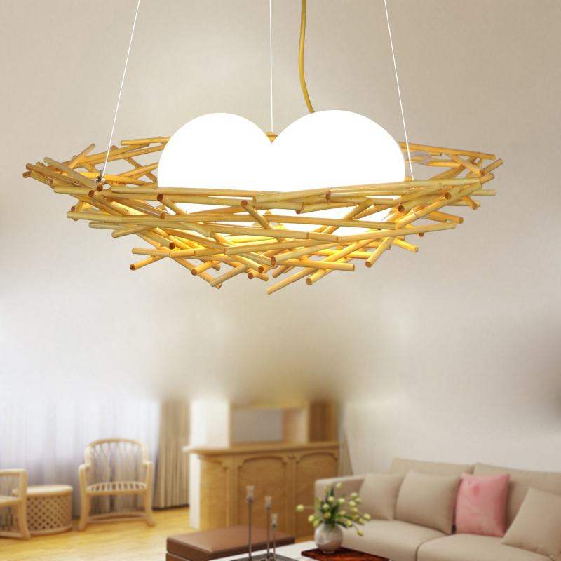 brief originality wood modern Pendant Lights western restaurant bedroom lamp personalized cafe bird nest solid LU630