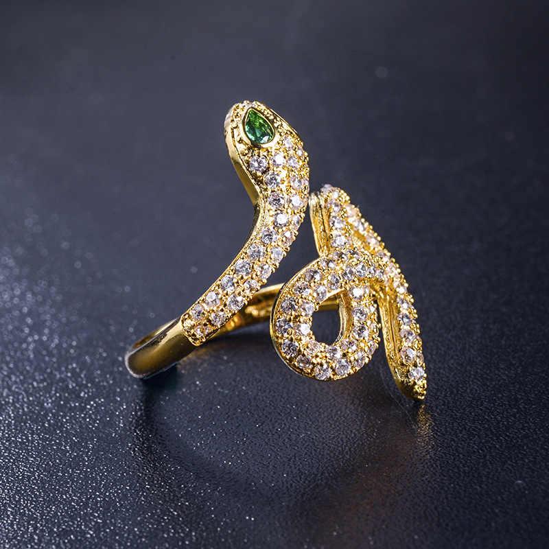 ファッションゴールドカラーオープンヘビキュービックジルコニアウェディング婚約指輪女性のための女の子クリスタルギフト指輪ファム zk40