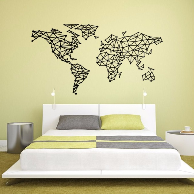 Yanqiao Geometric World Map Wall Sticker Art Decor Living Room ...