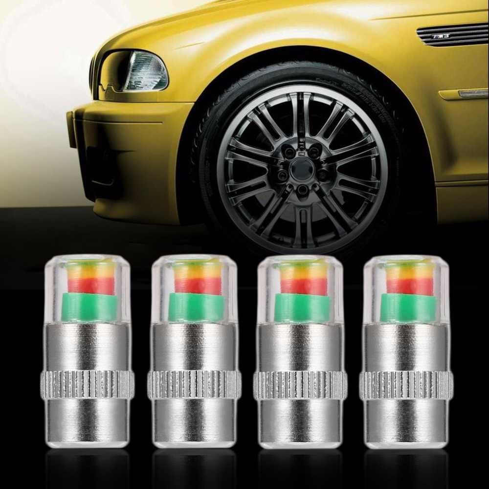 Kebidumei 4ピース車のタイヤ圧力キャップタイヤ警告デバイス幹モニターインジケータアラート