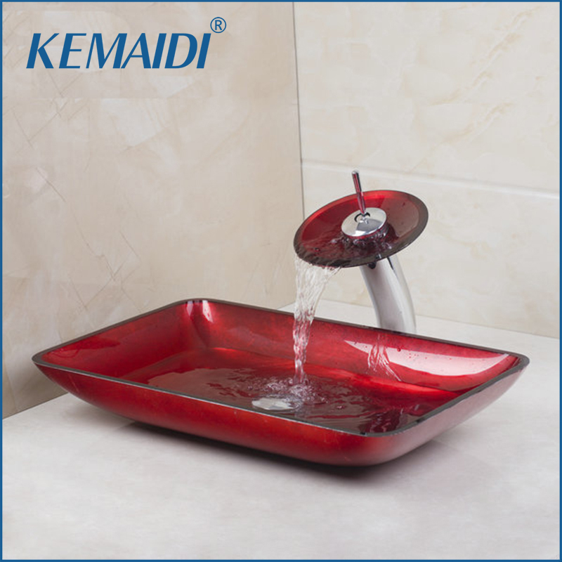 KEMAIDI Red Rectangular Victory Hand Paint Washbasin Tempered Glass Basin Sink With Brass Faucet Bathroom Sink Set 4018 1