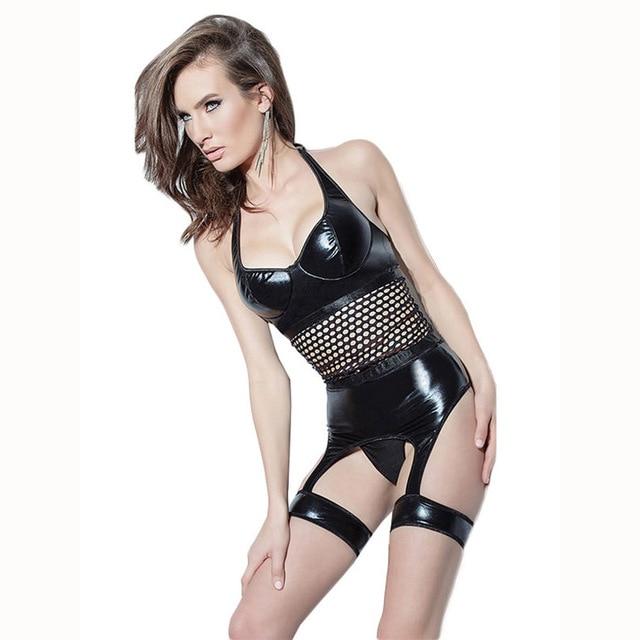a0b389b637601 Sexy Faux Leather Catsuit Lingerie High Quality Halter Fishnet Patchwork  Corset Bodysuit Back Lace Up Erotic Garter Underwear XL