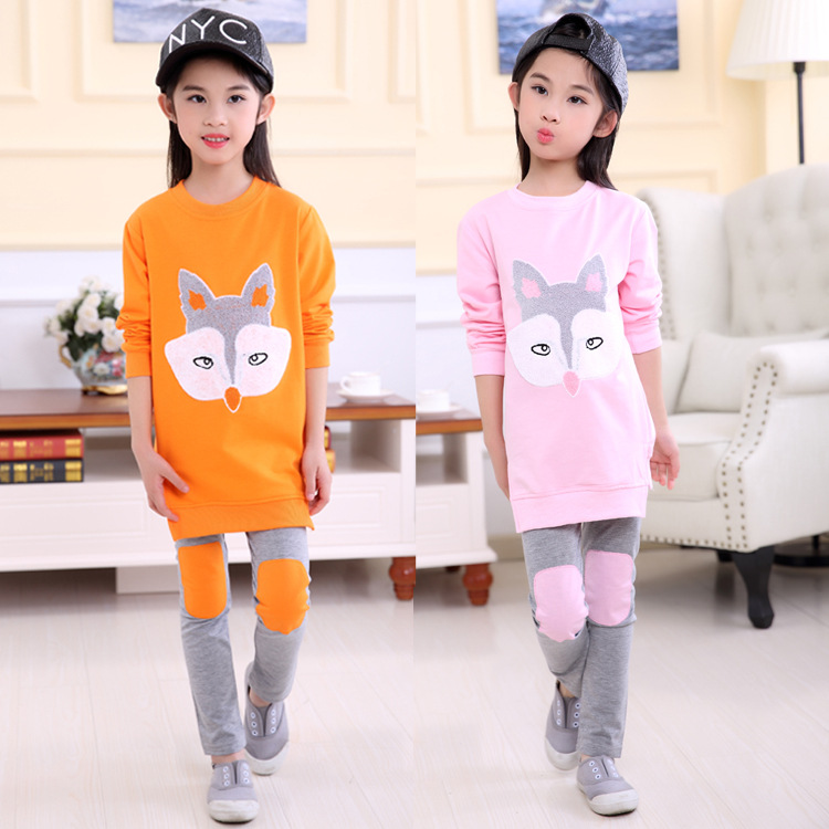 Anyongzu Fashion Girls Spring Girl Long Sleeved Pants Embroidery T-shirt Fille Tshirt Kids Girls Clothes suit
