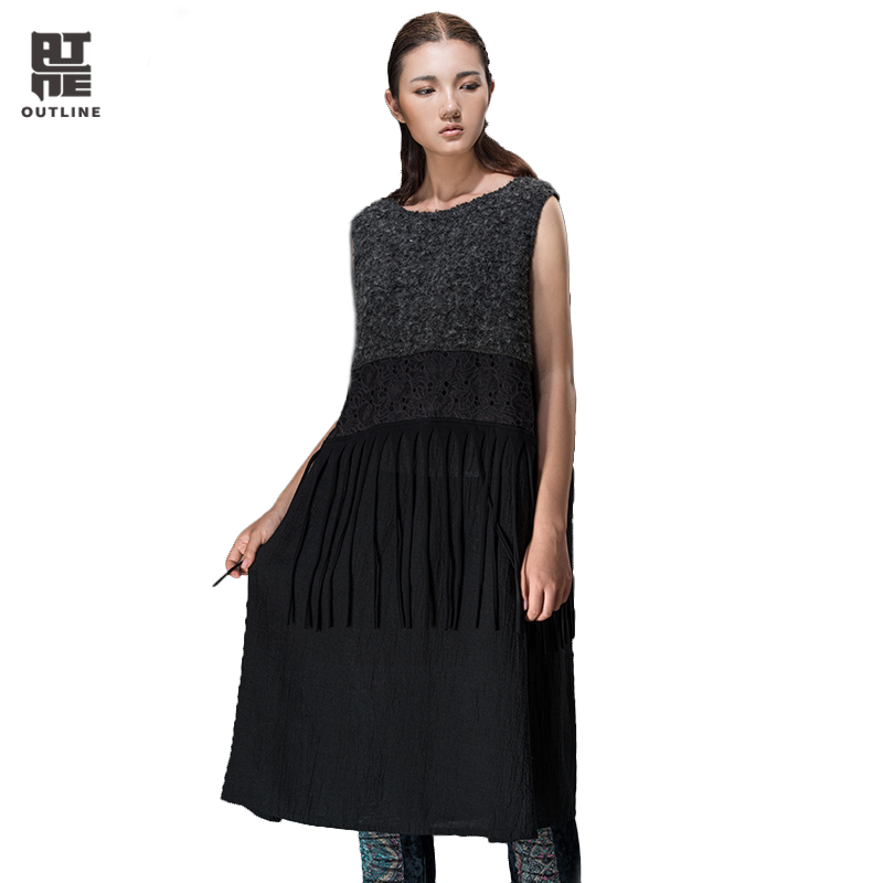 Outline Brand Women Long Dress Spring & Autumn Flax Dresses Sleeveless O-Neck Tassel Long Sweater Women Knitted Dress L143Y013