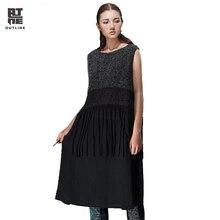 Outline Brand Women Long Dress Spring & Autumn Flax Dresses Sleeveless O-Neck Tassel Long Sweater Women Knitted Dress L143Y013