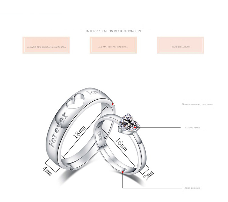 New Romantic Letter Forever Heart Lover Ring For Couple Crystal Silver Color Open Finger Rings Engagement Jewelry Gift
