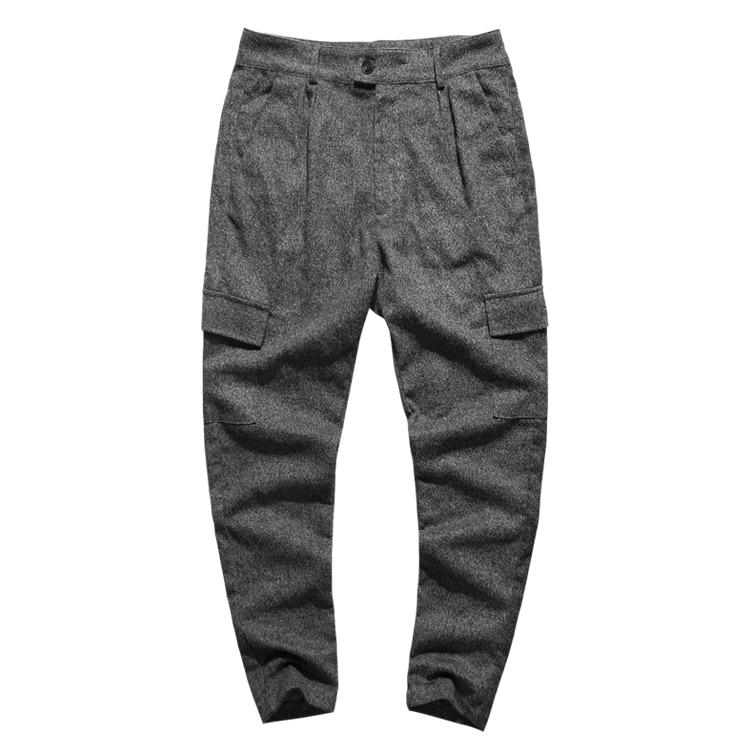 Image 4 - Men British Style Grey Casual Pockets Slim Fit Woolen Brand Suit  Pants Metrosexual Men Zipper Top Quality Straight Trousers K928Cargo  Pants