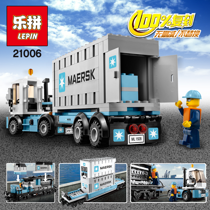 LEPIN 21006 Compatible Builder The Maersk Train 10219 Building Blocks Policeman Toys For Children lepin 02025 city the high speed racer transporter 60151 building blocks policeman toys for children compatible with lego