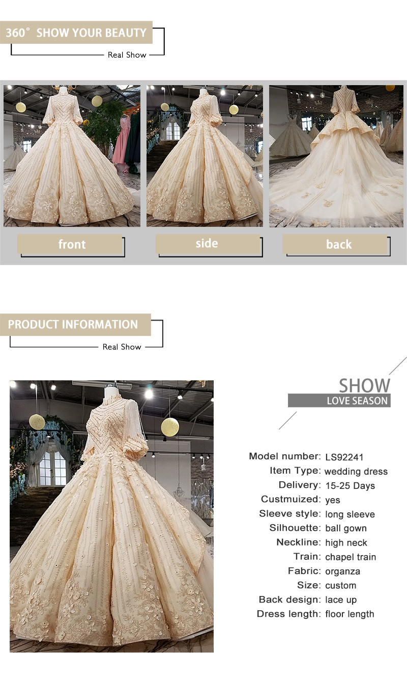 Ls92241 2018 Luxury Rhinestone Wedding Dress High Neck Ball Gown