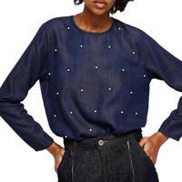 Blue Vintage Che Borda Denim di Seta Pullover Camicette 2018 Donne della Molla Mori Gir Harajuku Coreano Soft Top Blusas di Fitness Femininas