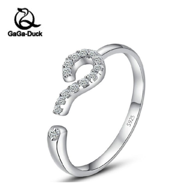 New Arrival Creative Symbol Personality Fashion 925 Sterling Silver Jewelry Question Mark Crystal Opening Rings R24