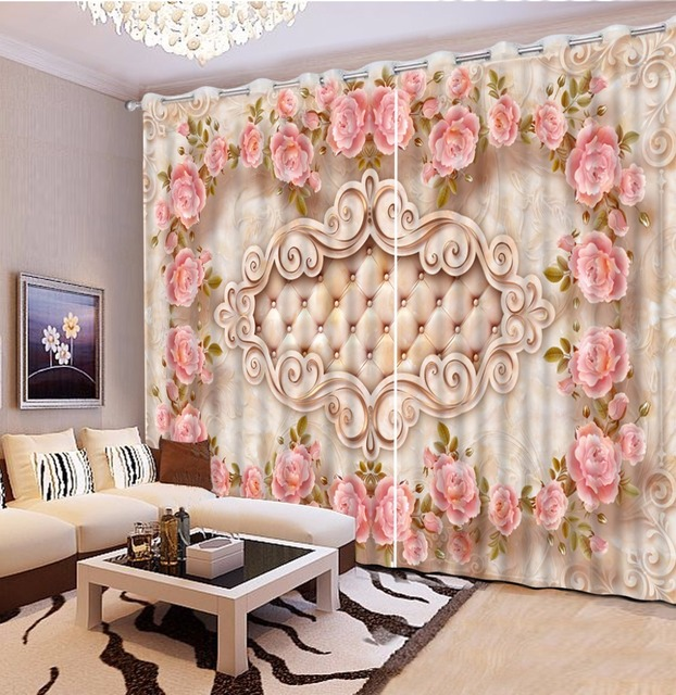 US $76.5 49% OFF|Custom Luxury European Curtain Living Room Beautiful rose  Window Blackout Curtains For Hotel Home Decoration -in Curtains from Home &  ...
