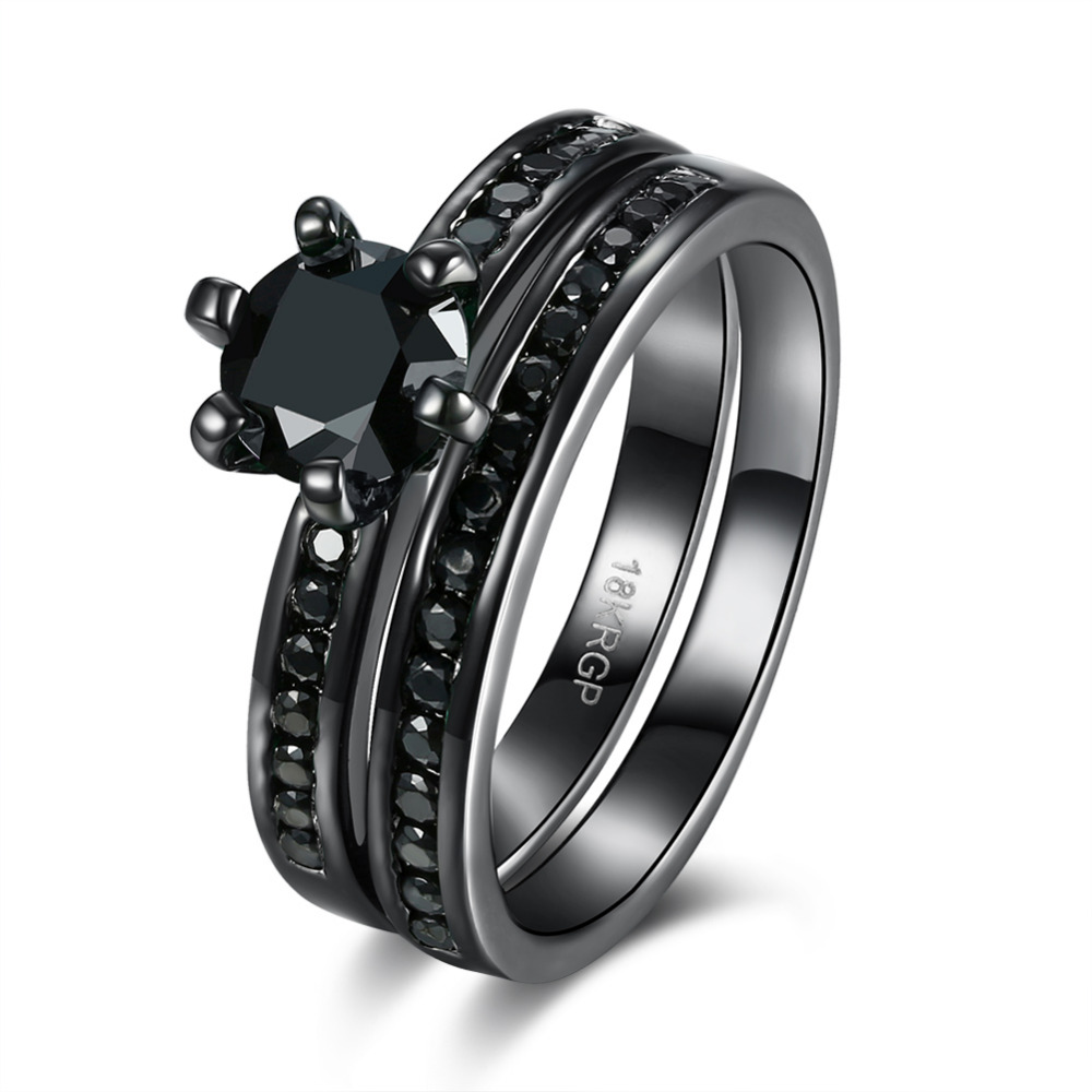 Hot Sale Exquisite Black Onyx Ring Black Gold Filled Engagement Wedding Ring  Size 6 7 8