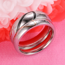 Silver Color Couple Ring Quality Stainless Steel Heart Alliance Ring For Women Men