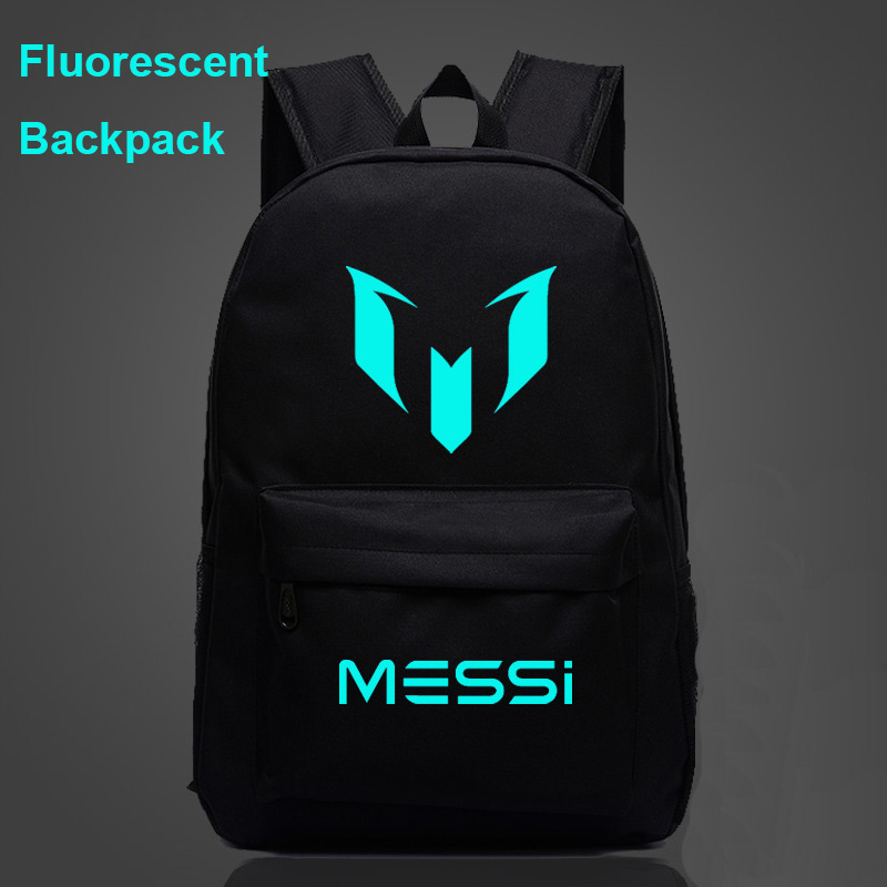 94ddce872f1 Fluorescent Luminous Galaxy FootBall Star Messi Boy School bag Women  Bagpack Teenagers Schoolbags Men Children Student
