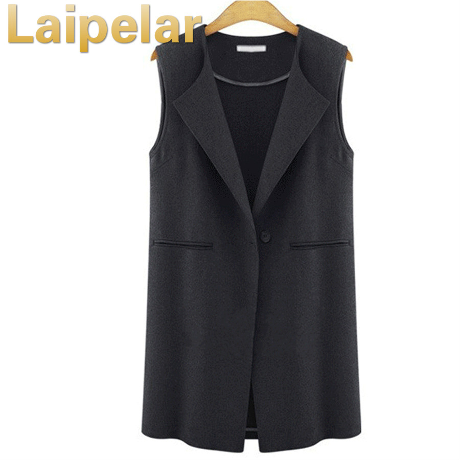 Autumn Sleeveless Vest Coats Women 2018 Luxury Turn Down Collar Coat Ladies Black Vest Female Casual Waistcoat Plus Size 5XL in Vests amp Waistcoats from Women 39 s Clothing