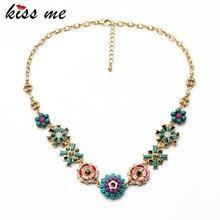 KISS ME Factory Wholesale 2017 Fashion Ethnic Jewelry Elegant Enamel Flowers Collar Necklace for Women
