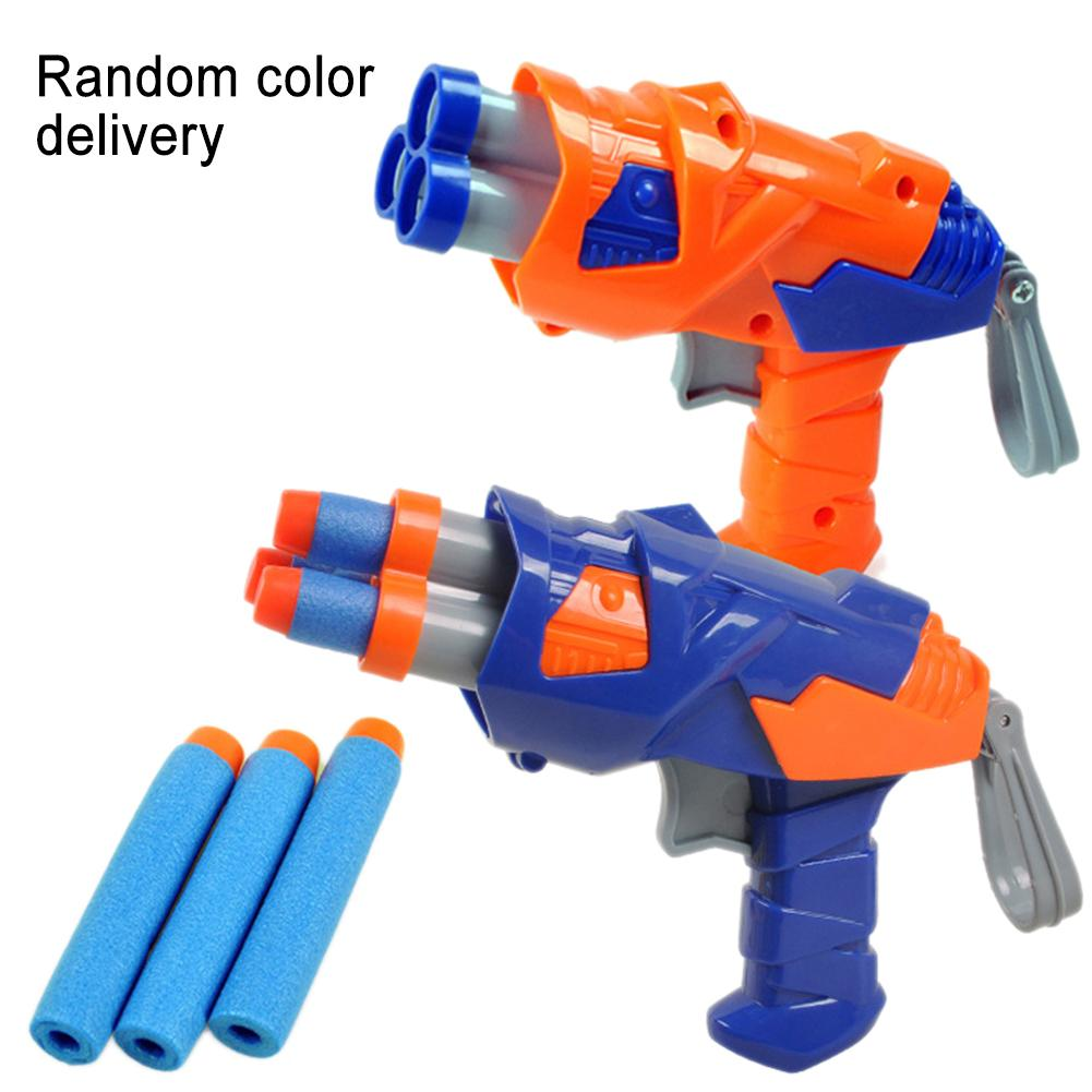 Children's Orange Blue Soft Bullet Pistol Toy Children's Outdoor Fun Toy Soft Bullet Shooting Plastic Toy Gun Boy Random Color