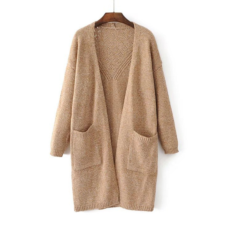 Women Casual Long Knitted Cardigan Autumn Korean Loose Solid Pockets Design Sweater Womens Clothing Back Hollow Out Coat
