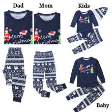 Pudcoco Family Matching Christmas Xmas Pajamas Clothes Sets Adults Kids Sleepwear Nightwear Cotton Casual Clothing Set(China)