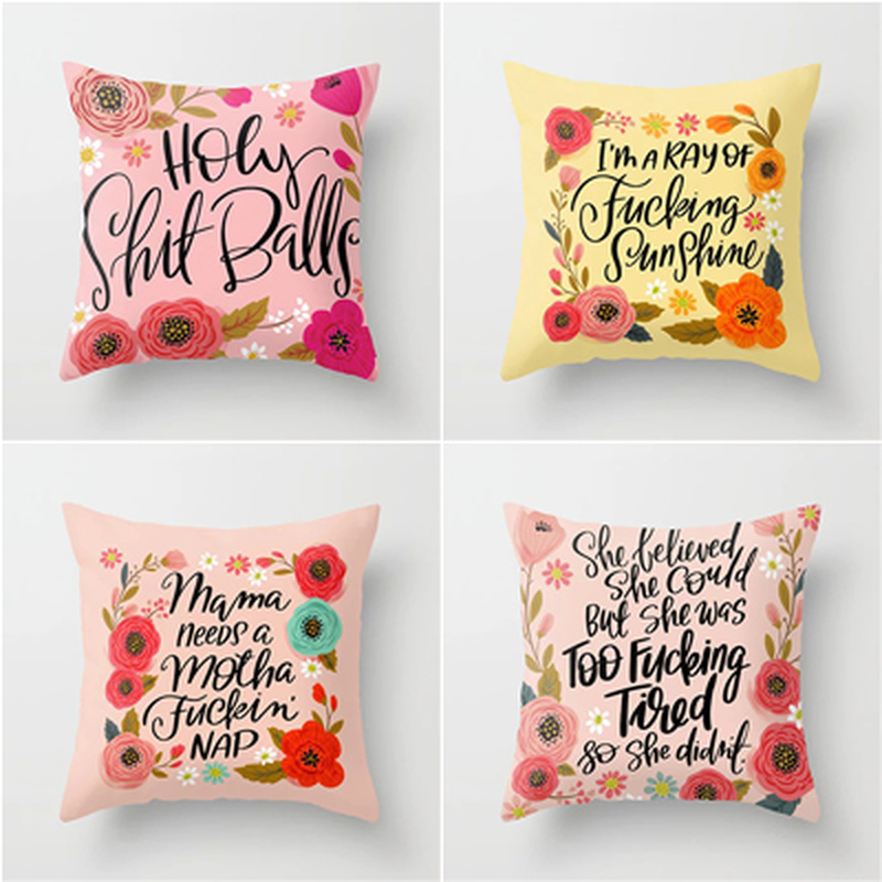 Factory Direct Polyester Garland Letter Printing Pillowcase Sofa Pillow Cover Throw Pillow Office Chair Pillow Cushion Cover