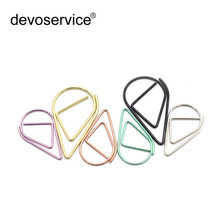 цена на 50pcs/Lot Metal Material Drop Shape Paper Clips Gold Silver Color Kawaii Creative Bookmark Office Shool Stationery Marking Clips